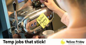 Temp jobs that stick, vrouw met koffiezetapparaat